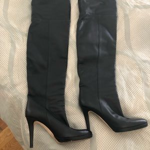 Jimmy Choo Over the Knee Black Leather Boots 38